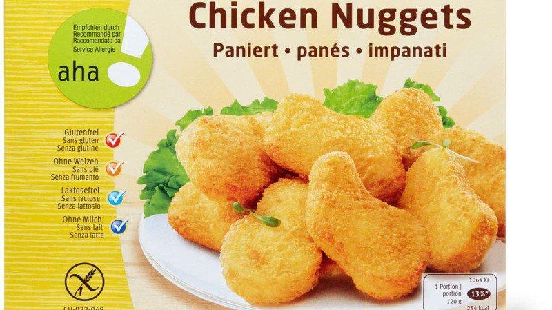 Les poulets panés peuvent contenir du gluten contrairement à ce qui est indiqué sur l'emballage.