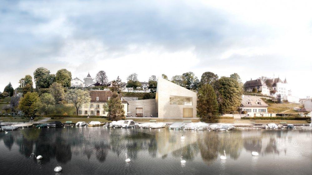 Ce à quoi devrait ressembler le musée, après son extension. Sur la droite sous le château, on distingue la maison des recourants.