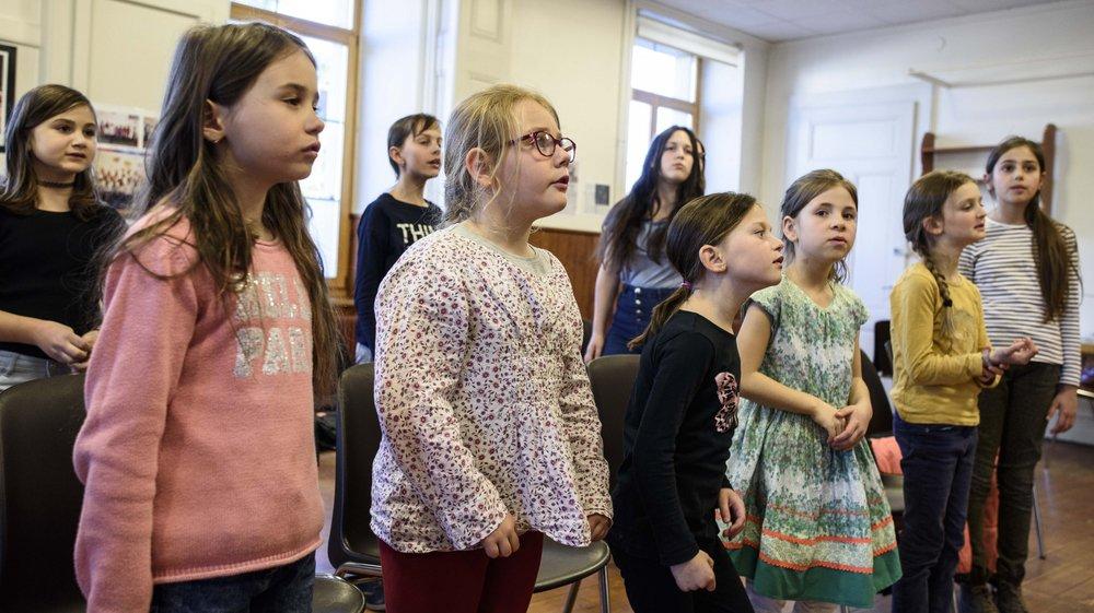 La chorale des enfants du Muids, en pleine répétition.