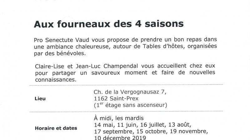 Table d'hôtes pro senectute à Saint-Prex