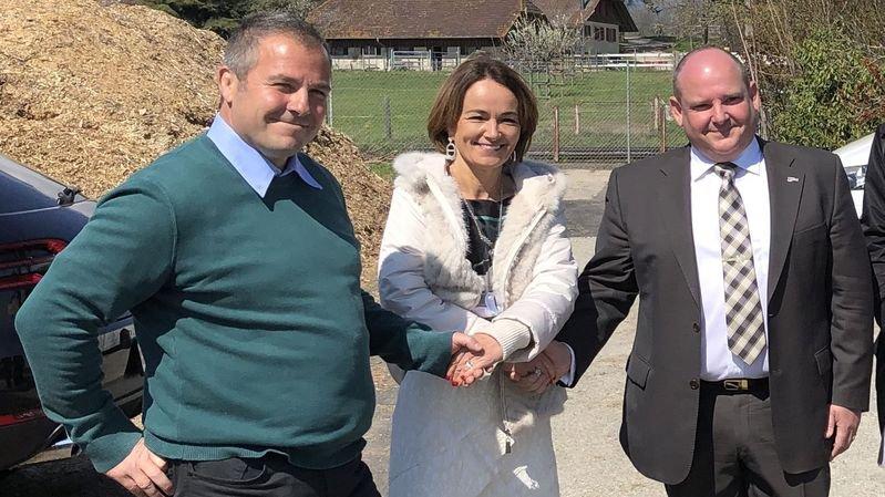 L'entente affichée devant les médias le 9 avril par les organisateurs du giron Nyon 2019, Frédéric Borloz (à g.) et Stéphane Delley avec la directrice des cliniques privées, Catherine Colin (au centre) n'était pas parfaite. Il a fallu négocier dur.