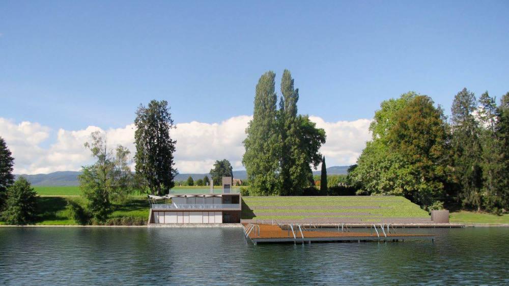 Le projet de plage à la Dullive comprend un ponton et un bâtiment.