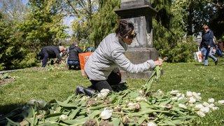 Morges: le vent n'a pas freiné la vente des bulbes