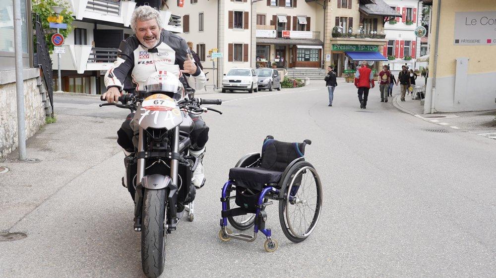 Alain Petter, paraplégique, est toujours resté un motard dans l'âme. Samedi, il a lâché le drapeau à damiers qui était le sien lors des précédentes éditions pour s'offrir quatre montées vers Saint-Cergue à bord de sa Triumph Street Triple 765.