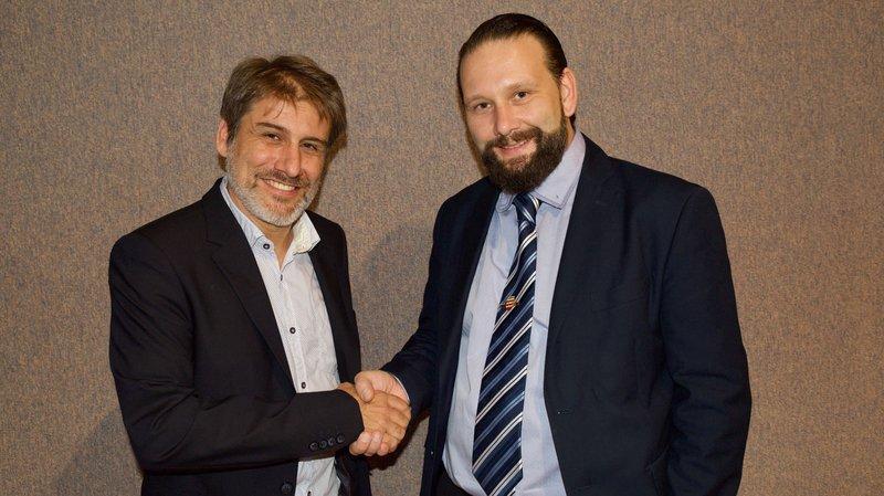 A gauche, Laurent Pellegrino. Il succédera pour l'année 2019-2020 à Pascal Gemperli, à droite, à la tête du Conseil communal.