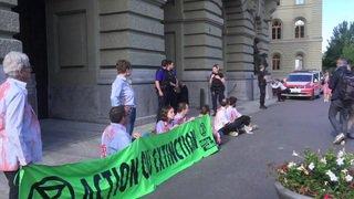 Trois militants pro-climat s'enchaînent au Palais fédéral