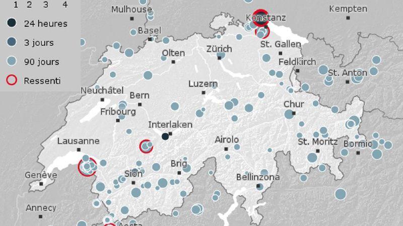 La secousse a été nettement ressentie au nord-est de la Suisse.