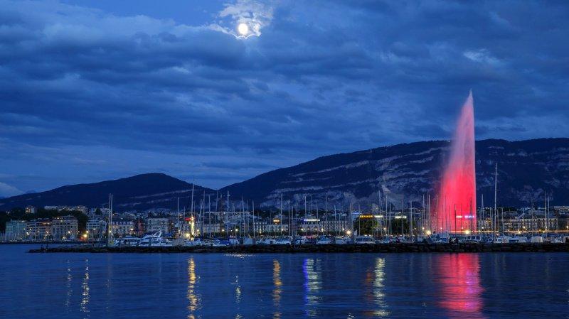 Genève: le jet d'eau va être teint en orange, puis en vert