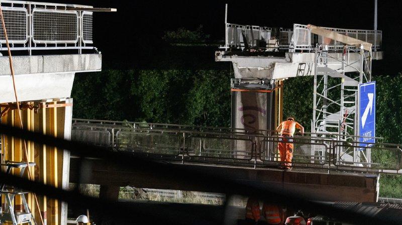 Montreux-Vevey: l'A9 a été rouverte ce mardi matin, après destruction de la passerelle