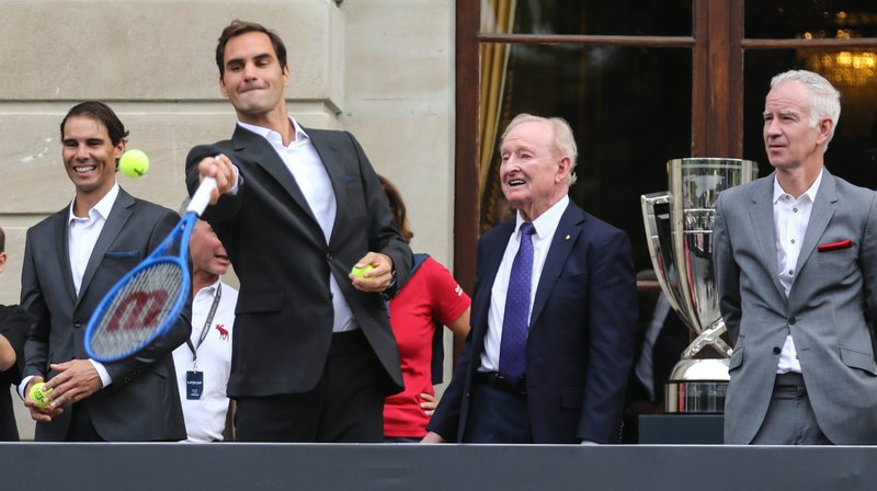 Roger Federer, Rafael Nadal, Rod Laver et John McEnroe, lors de la présentation des joueurs participant à la Laver Cup, ce mercredi à Genève.