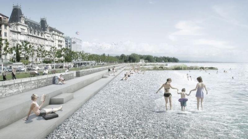 Extraits du projet lauréat 1er prix: «Au ras de l'eau» par Pierre-Alain Dupraz architecte ETS FAS, infographie réalisée par Archigraphie.ch.