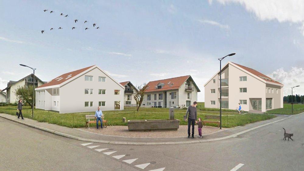 Deux immeubles seront implantés sur les parcelles communales, complétant le quartier du Viez et offrant à la population d'Arnex-sur-Nyon une petite salle des fêtes (à dr.).
