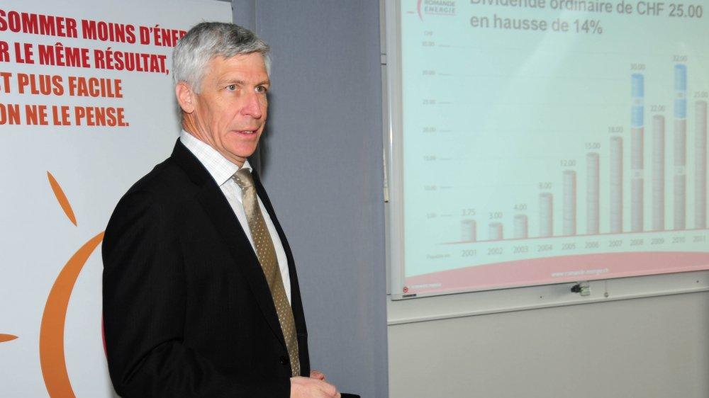 Denis Matthey, ici lors de la présentation des résultats de Romande Energie en 2011, est décédé dimanche.