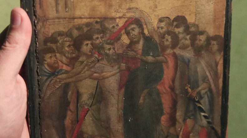 Le tableau est en fait une oeuvre du peintre Cimabue, un artiste très important du 13e siècle.