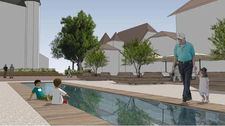 Pour les recourants, raser l'esplanade et creuser un bassin sont loin d'être des aménagements que l'on peut qualifier de provisoires.