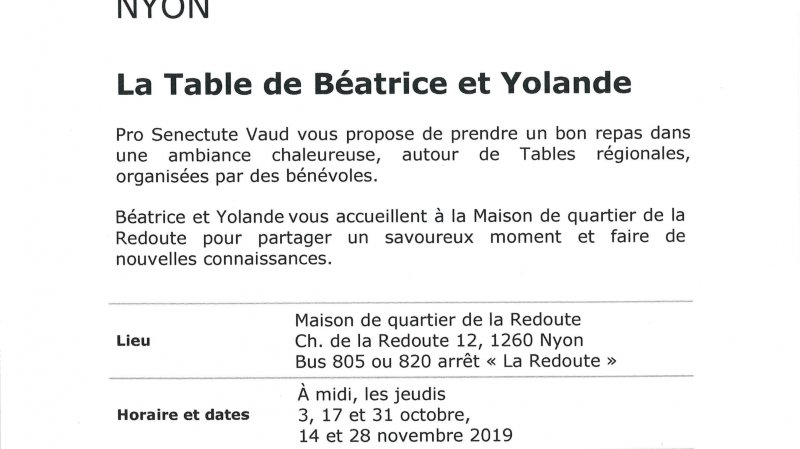Grande tablée - La Table de Béatrice et Yolande