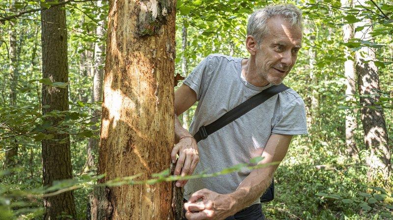 Jean Rosset dans une forêt de Chéserex.