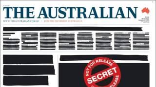 Liberté de la presse: la une des journaux australiens caviardée pour protester