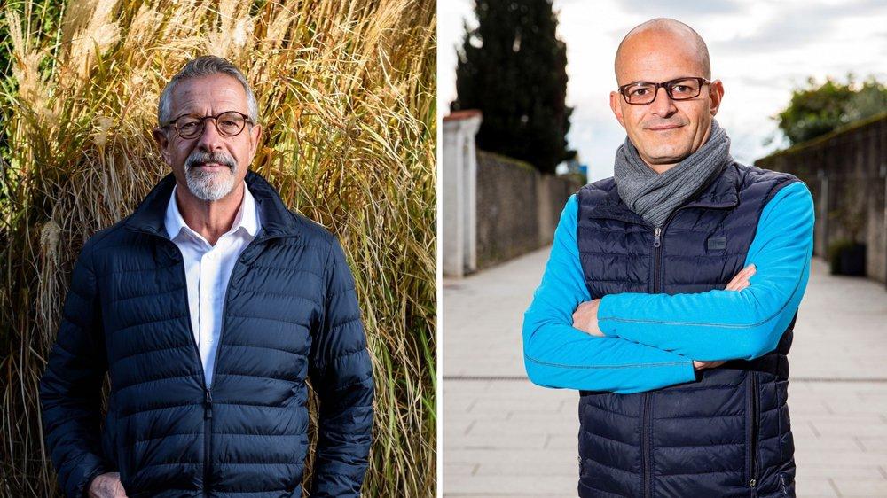 Le socialiste Philippe Blaser (à g.) et le PLR Giorgio Micello (à dr.) visent le siège vacant à la Municipalité de Rolle. Le résultat du vote pourrait redistribuer les cartes au sein de l'Exécutif.