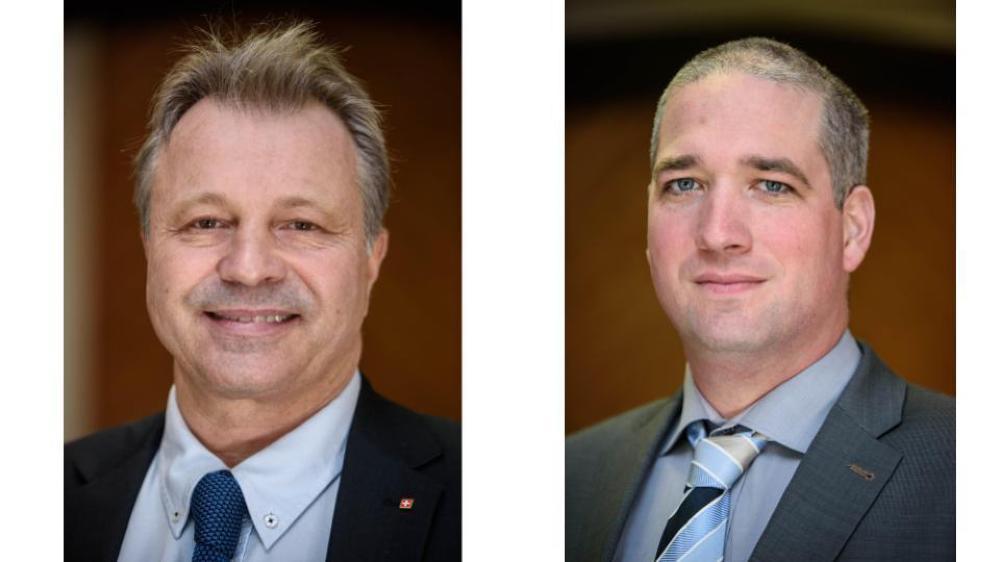 Thierry Dubois (à g.) cède son siège UDC du district de Nyon au Grand Conseil à Nicolas Bolay (à dr.)