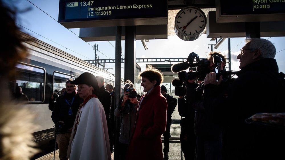 Simonetta Sommaruga faisait partie des invités de marque, jeudi, pour l'inauguration du Léman Express.