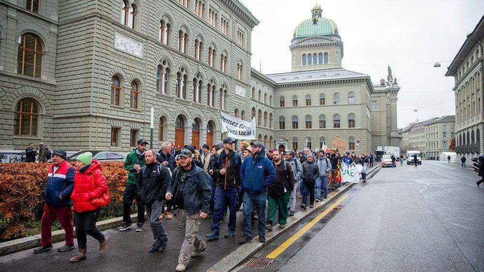 """La manifestation des """"Raisins de la colère"""" a vu défiler près de 250 vignerons dans la Ville fédérale le 2 décembre."""