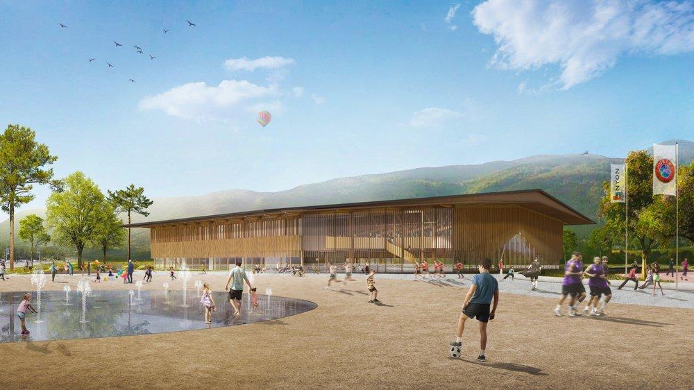 Le nouveau complexe prévoit une Maison du Sport comprenant une salle triple, deux nouveaux terrains extérieurs, un skatepark et une grande esplanade des deux côtés de la route cantonale.