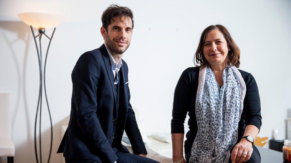 Grégoire Vorpe, l'artiste, et Béatrice Ingold, la propriétaire du fameux tableau.