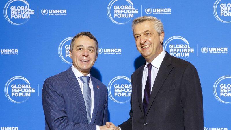 Filippo Grandi, le Haut Commissaire de l'ONU pour les réfugiés et Ignazio Cassis, le ministre suisse des affaires étrangères ont participé à ce premier forum.