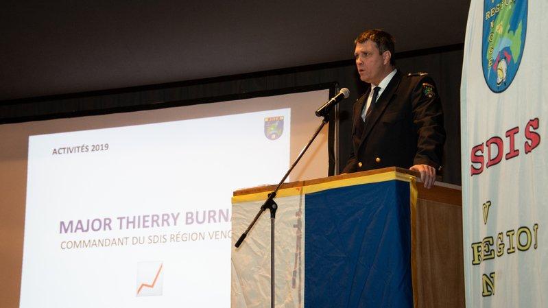 Le commandant du SDIS Région Venoge, Thierry Burnat, lors du rapport annuel, vendredi à L'Isle.