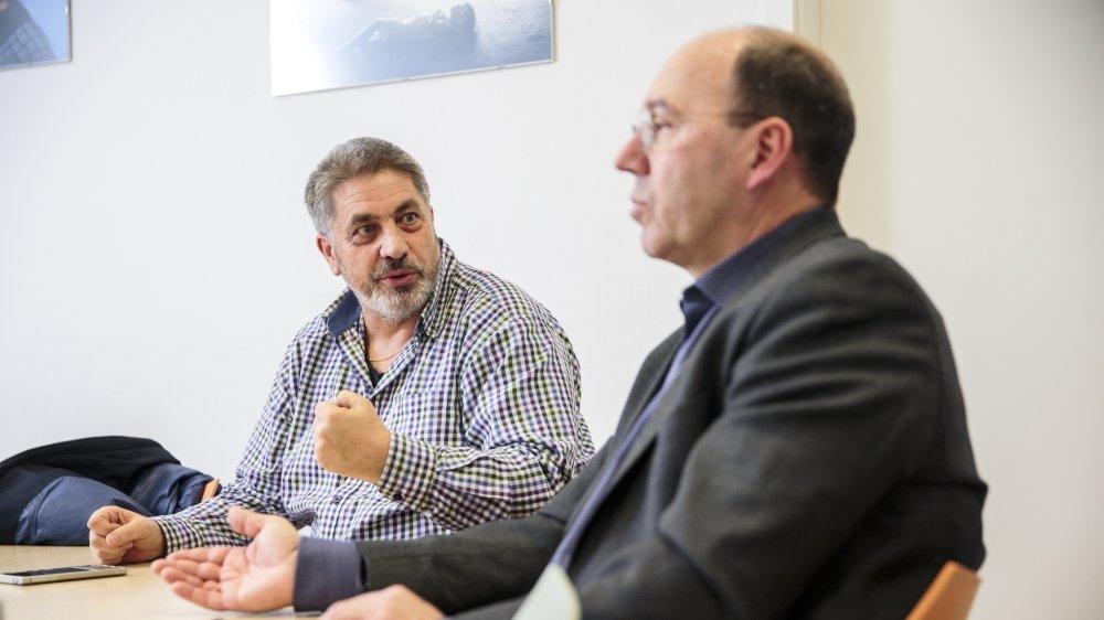 Didier Lohri, à gauche, et Pierre-André Romanens ont mis leurs différences politiques de côté.