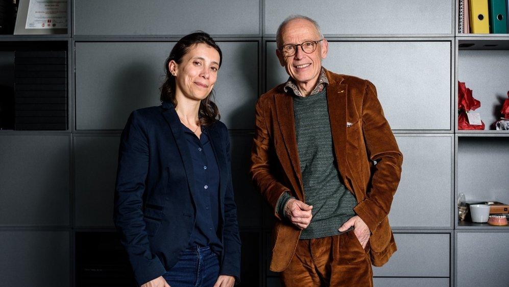 La lauréate Caroline Leopold-Metzger et l'accompagnant de son choix, Pierre-Yves Maillefer.