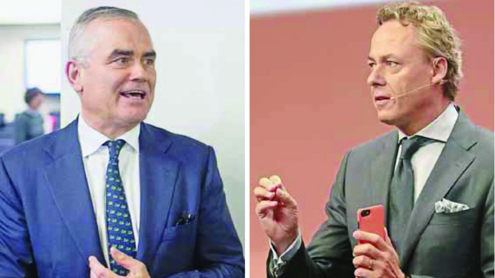 Thomas Gottstein (à g.), à la tête de Credit Suisse, et Ralph Hamers, le futur directeur général d'UBS.
