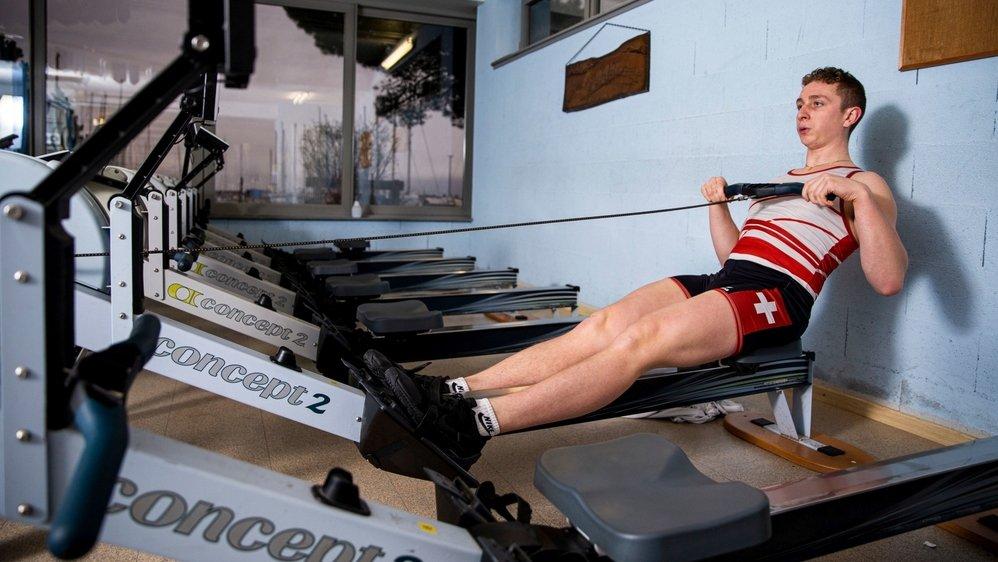 Raphaël Ahumada a profité d'être au calme dans les installations du Forward Rowing Club Morges pour réaliser son record personnel.