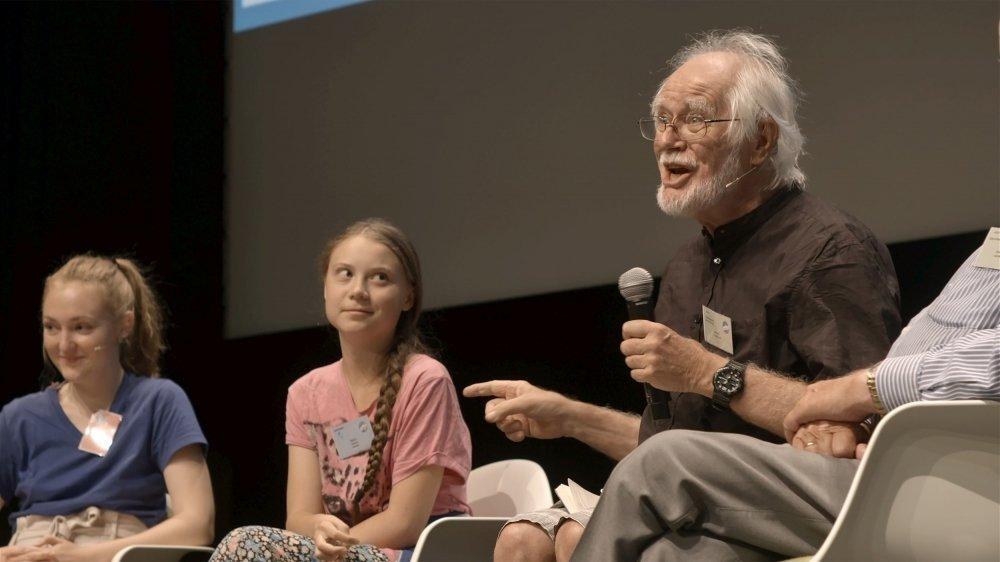 Jacques Dubochet a rencontré Greta Thunberg, l'été dernier lors du rassemblement européen des grévistes du climat à Lausanne.