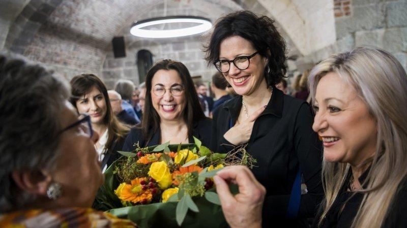 Christelle Luisier, avec ses nouvelles collègues du Conseil d'Etat: Rebecca Ruiz, Cesla Amarelle, et Nuria Gorrite.