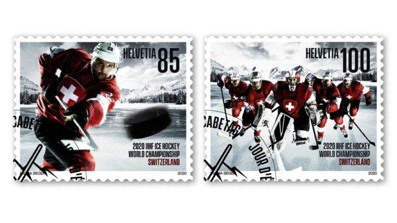 La Poste a émis deux timbres à l'occasion des championnats du monde de hockey sur glace qui se déroulent du 8 au 24 mai en Suisse.