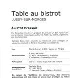 Table au bistrot à Lussy-sur-Morges
