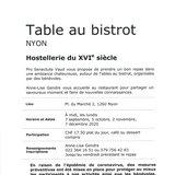 Table au bistrot Hostellerie du XVIe siècle