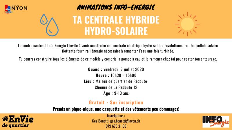 Animation Info-énergie - Centrale hydro-solaire