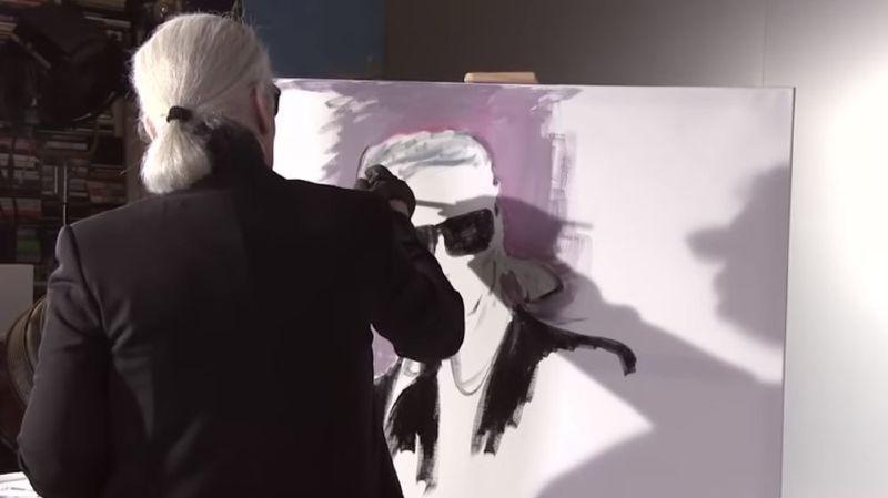 Un autoportrait deKarl Lagerfeldvendu 17'980 euros aux enchères