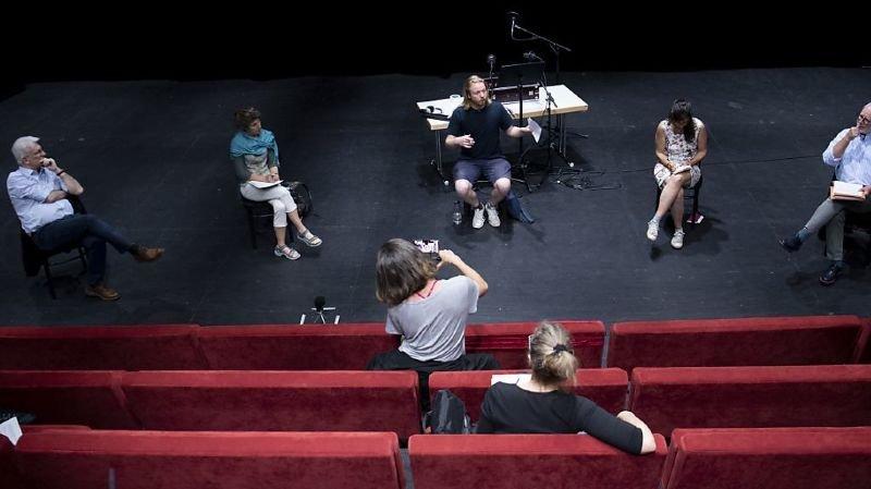 La conférence de presse s'est tenue au pavillon du Théâtre de Vidy.