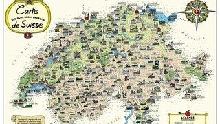 Les «plus beaux endroits» de Suisse cartographiés par le dessinateur Herji
