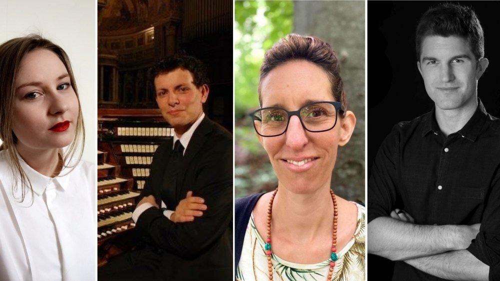 Les quatre lauréats de la bourse d'aide à la création artistique de la ville de Gland: Laetitia Pascalin, Tommaso Mazzoletti, Manon Schwerzmann et Florian Sägesser.