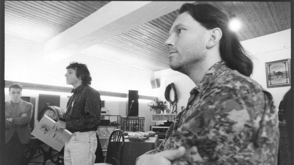 Daniel Rossellat et Jacques Monnier, lors d'une conférence de presse au début des années 1990.