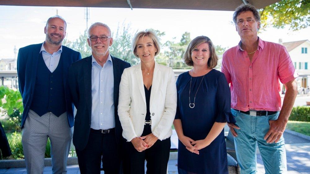 Les candidats du GDG, de gauche à droite: Gilles Davoine, Gérald Cretegny, Isabelle Monney, Christelle Giraud et Thierry Genoud.