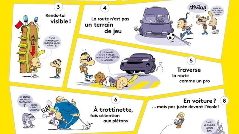 Les huit situations rencontrées par Titeuf et ses conseils pour aller à l'école sont regroupés sur une affiche.